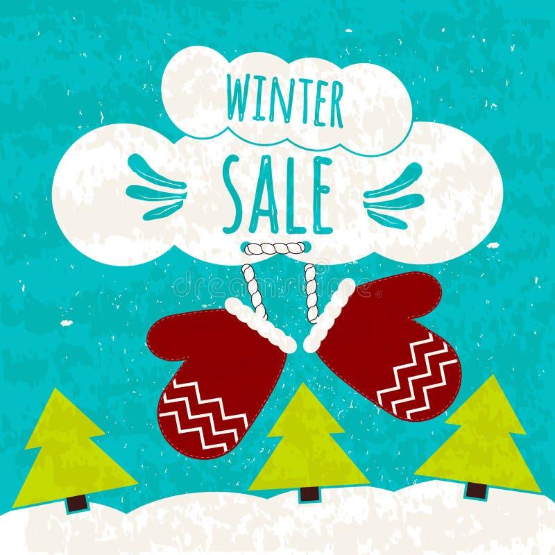 Soczysty kolorowy typograficzny plakat z tekstem o zima rabatach i niskich cenach Ulotka dla druk kawiarni i sklepów Zima s ilustracji