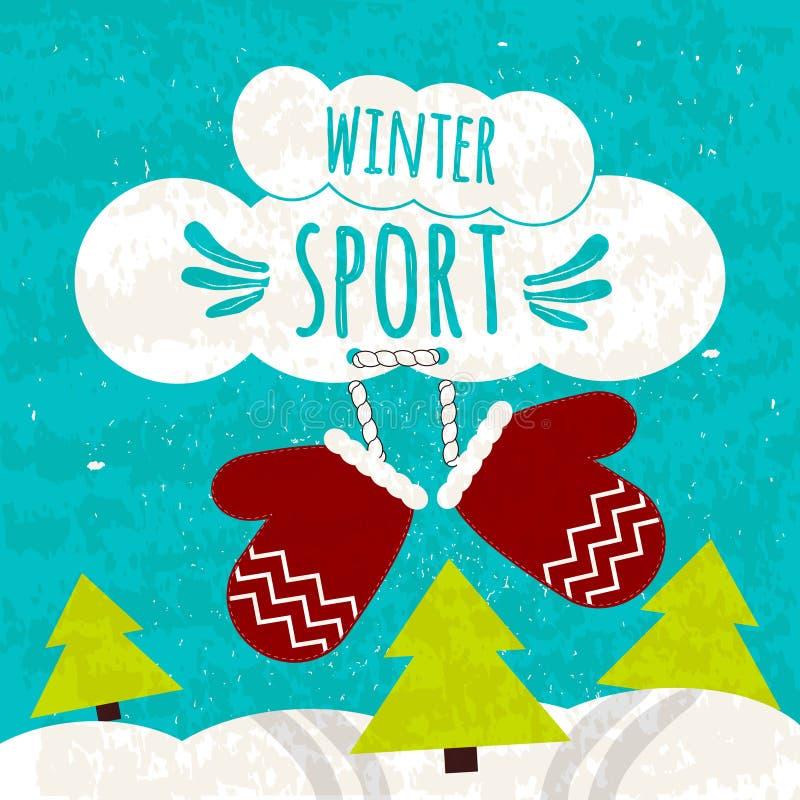 Soczysty kolorowy typograficzny plakat z tekstem o zima sportach na pięknym błękitnym zimy tle z śniegiem Ośrodki narciarscy royalty ilustracja