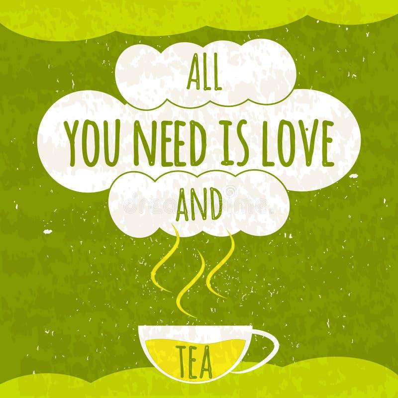 Soczysty kolorowy typographical plakat z fragrant gorącą filiżanką herbata na jaskrawym - zielony tło z odświeżającą teksturą O t ilustracja wektor
