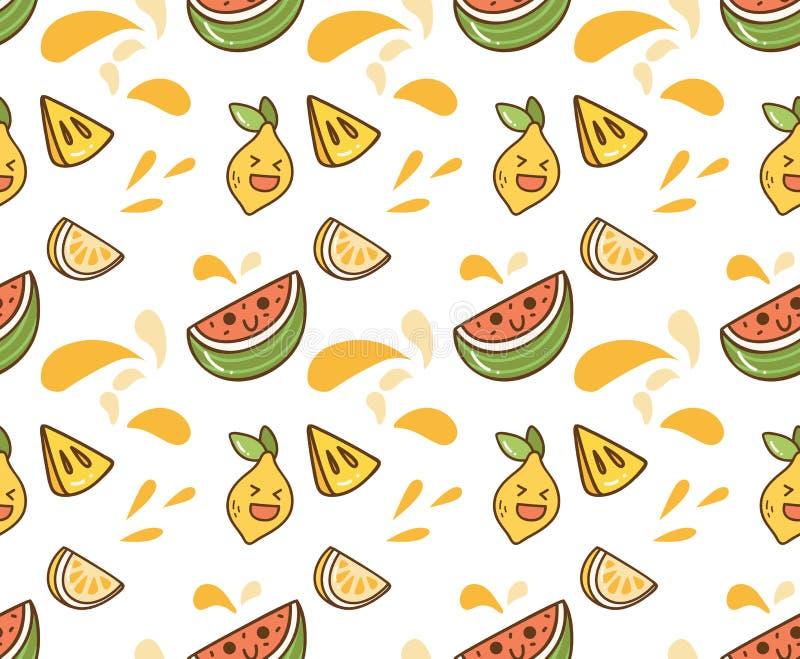 Soczysty owocowy kawaii tło royalty ilustracja