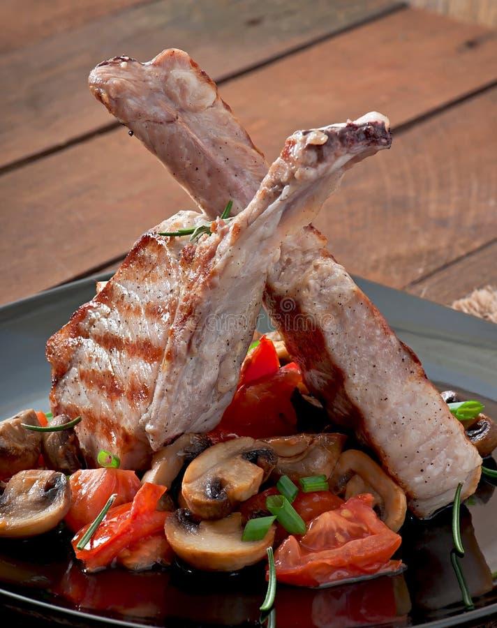 Soczysty piec na grillu wieprzowina stek obrazy royalty free