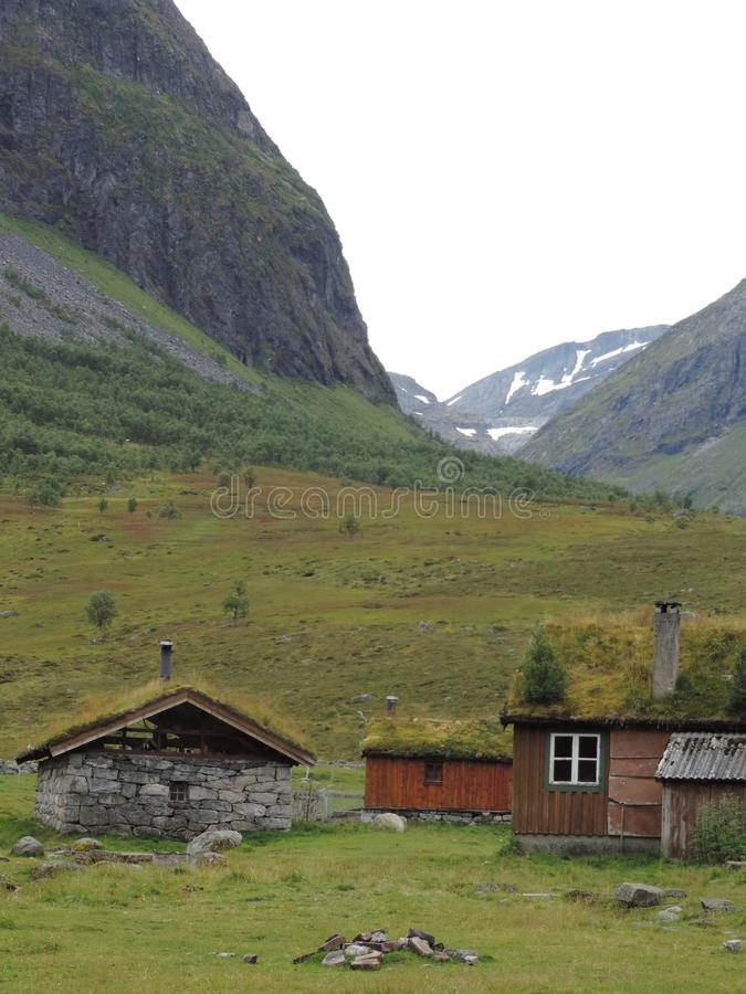 Sod Roof Cabins in Geiranger, Norway stock photo