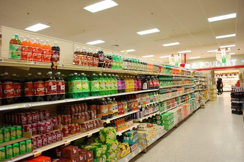 Soda Aisle in the Supermarket stock photo