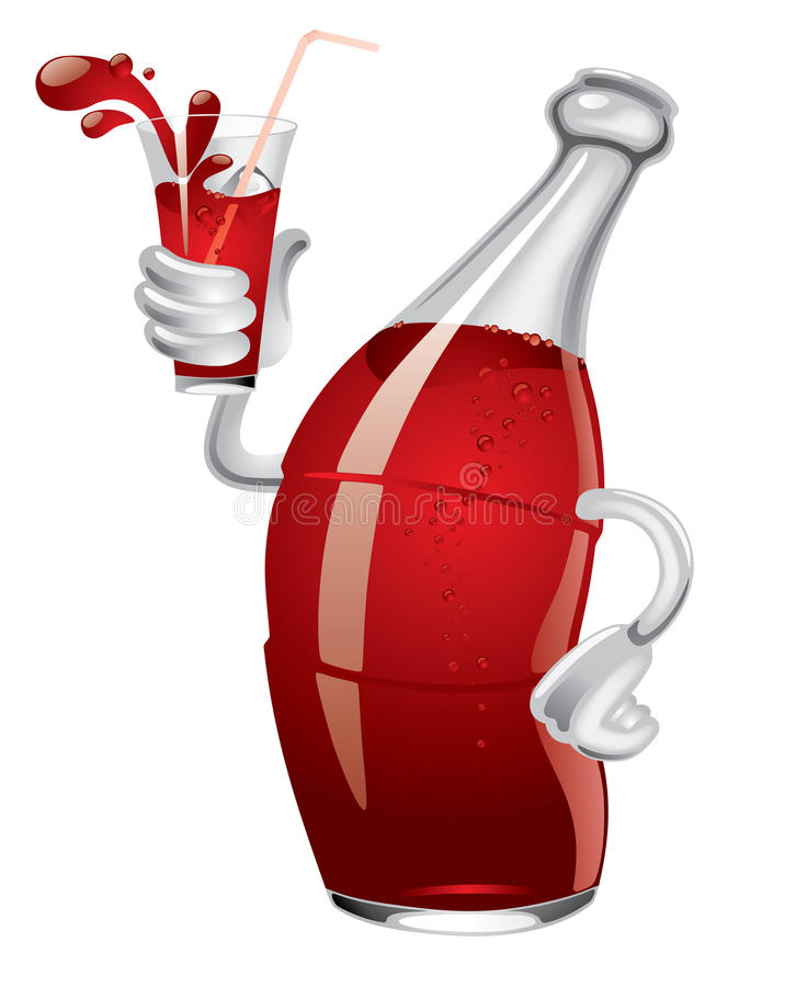 Soda bottle. Isolated raster version of cartoon soda bottle with a glass in a hand (contain the Clipping Path) There is in addition a format (EPS 8
