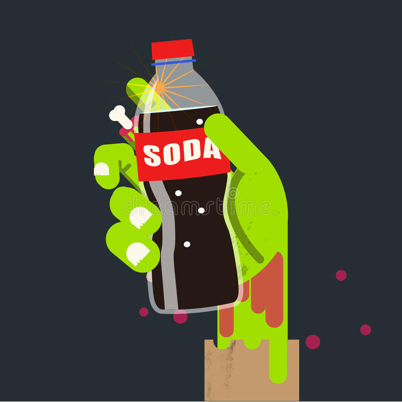 Soda bottle in zombie hand. soda kill concept - vector illustration