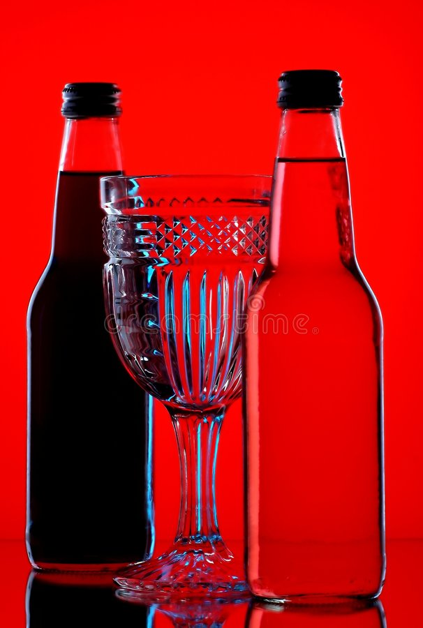 Soda Bottles and Glass royalty free stock image