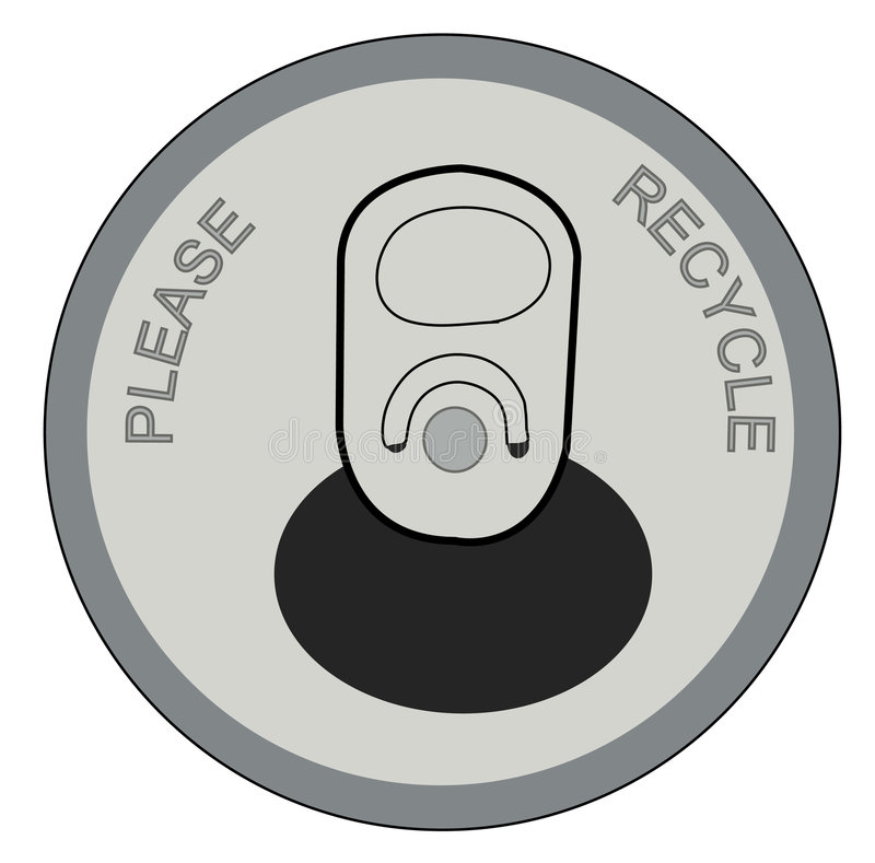Soda can lid. Open pop or soda can with please recycle on lid - vector stock illustration