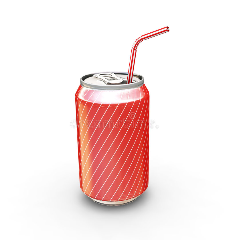 Soda can with straw. 3D render of a soda can with straw royalty free illustration