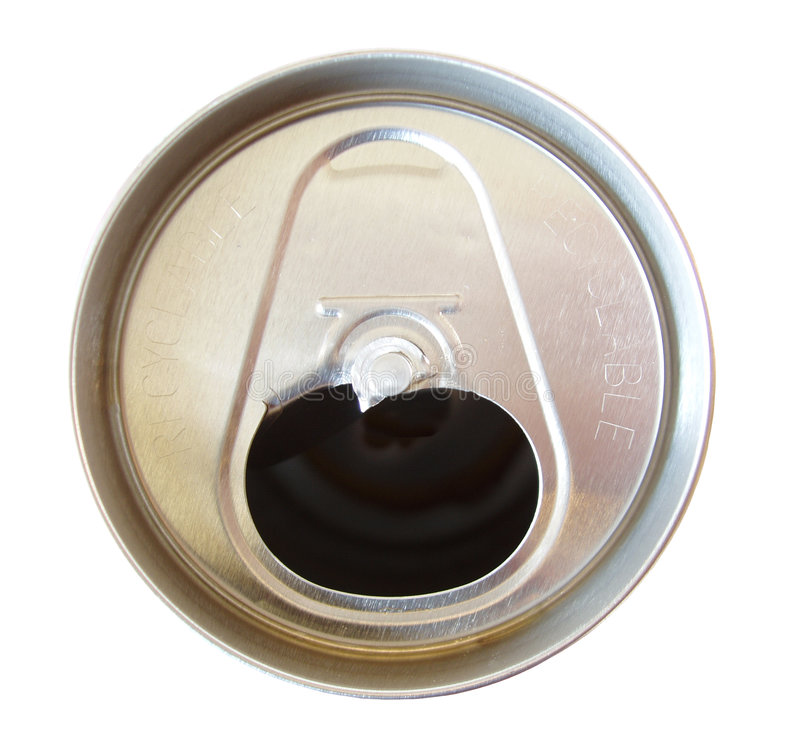Soda can with tab off. Isolated on white background stock photos