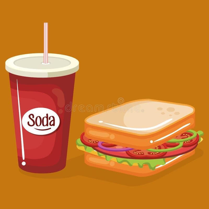 Soda com menu do fast food do sanduíche ilustração stock
