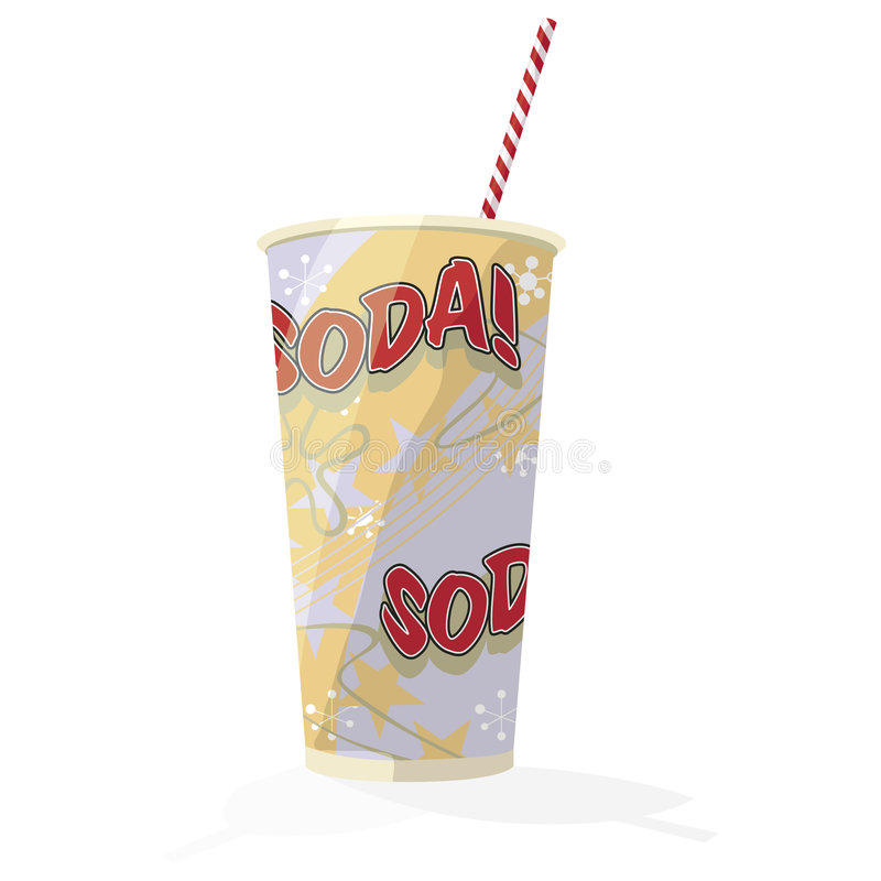 Soda Cup illustration. Illustration of a paper cup with the word Soda on it and a red and white stripes straw sticking out of it royalty free illustration