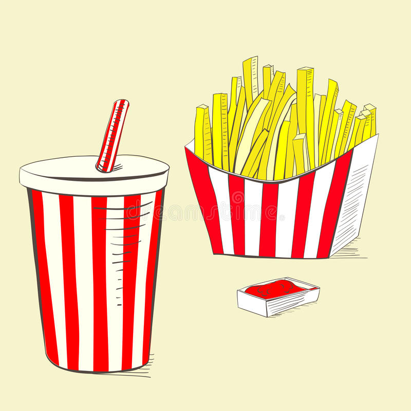 Soda drink with fries