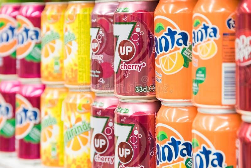 Soda Drinks On Supermarket Stand. BUCHAREST, ROMANIA - FEBRUARY 22, 2015: Soda Drinks On Supermarket Stand royalty free stock photo