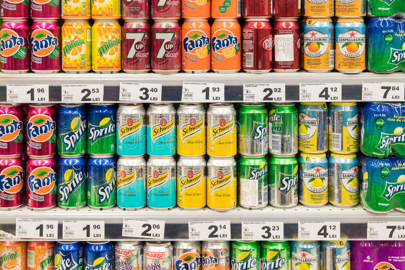 Soda Drinks On Supermarket Stand. BUCHAREST, ROMANIA - FEBRUARY 22, 2015: Soda Drinks On Supermarket Stand stock photography
