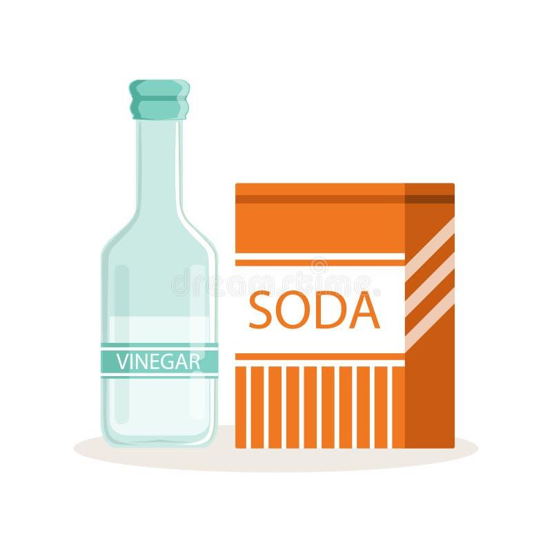 Soda in een ambachtdocument zak en glasfles azijn, het bakken ingrediënten vectorillustratie vector illustratie