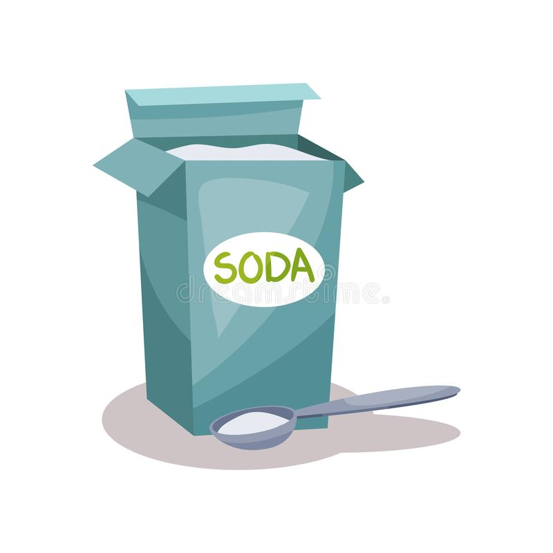 Soda en una bolsa de papel del arte y cuchara, ejemplo del vector del ingrediente que cuece en un fondo blanco libre illustration