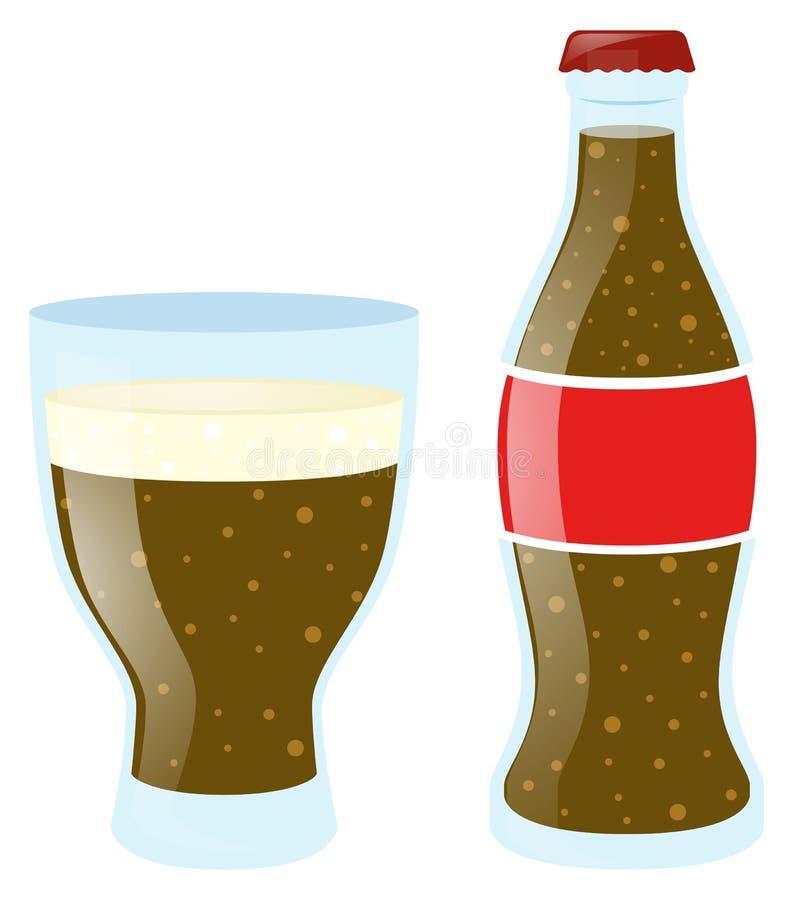 Soda en vidrio y botella ilustración del vector