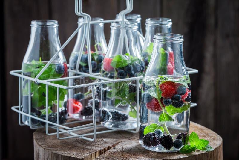 Soda in fles met bessen royalty-vrije stock foto