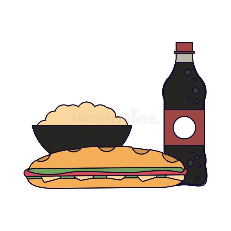 Soda i wystrzał kukurudza z kanapką ilustracja wektor