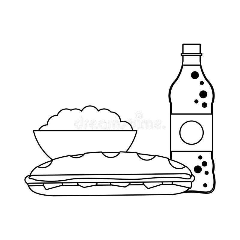 Soda i wystrzał kukurudza z kanapką czarny i biały royalty ilustracja