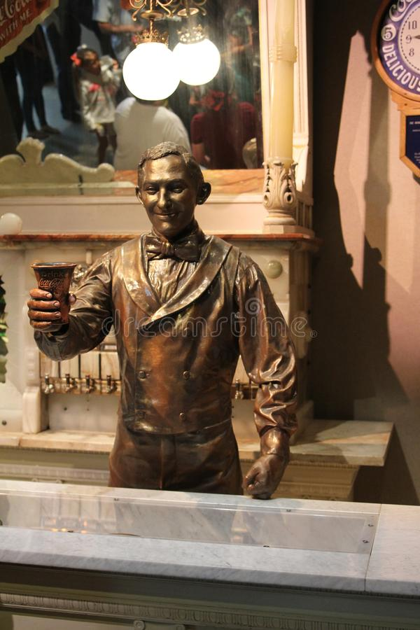 Soda Jerk Statue at Coca Cola Museum, Atlanta, GA.  royalty free stock photos