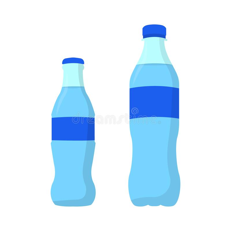 Soda. Mineral water. Water in plastic and in glass bottle. Flat design vector illustration