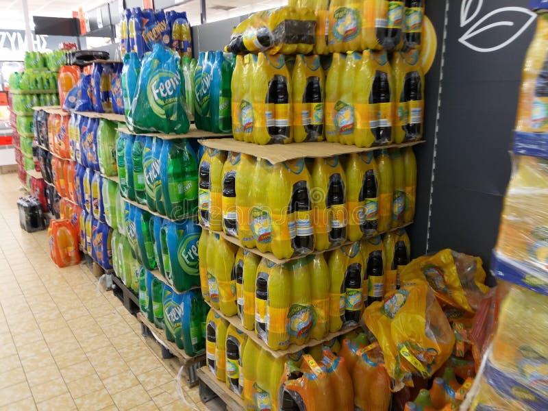 Soda no supermercado imagem de stock