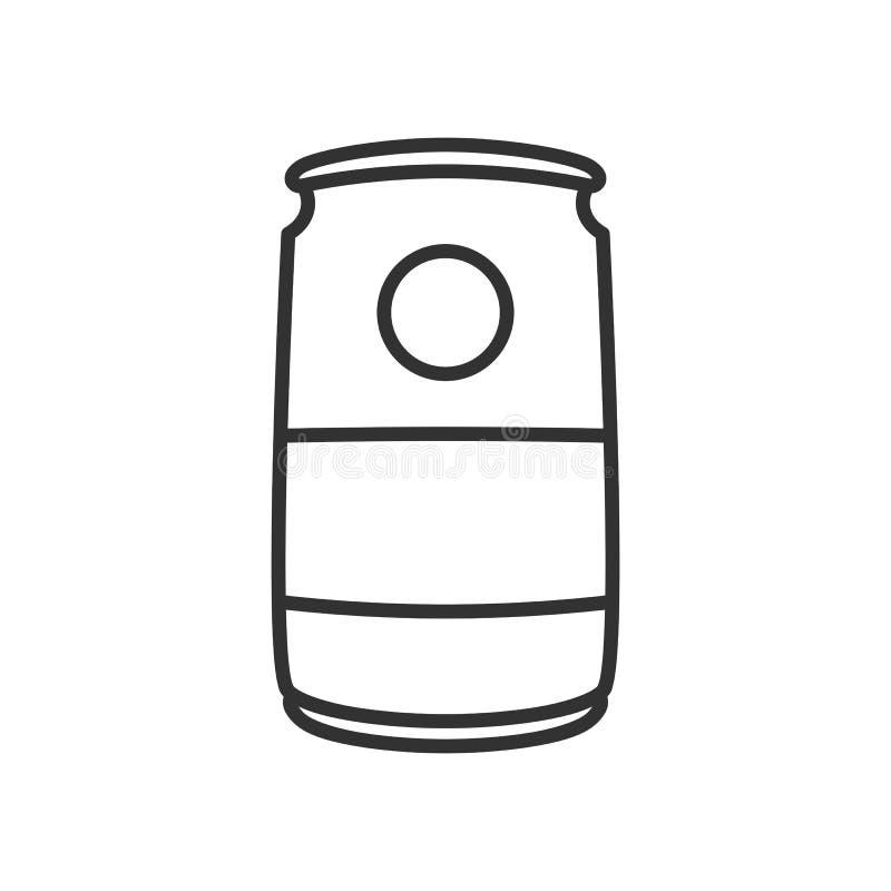 A soda pode esboçar o ícone liso no branco ilustração do vetor