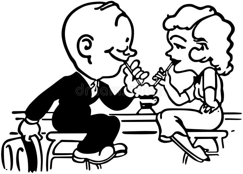 Soda Shop Romance stock illustration