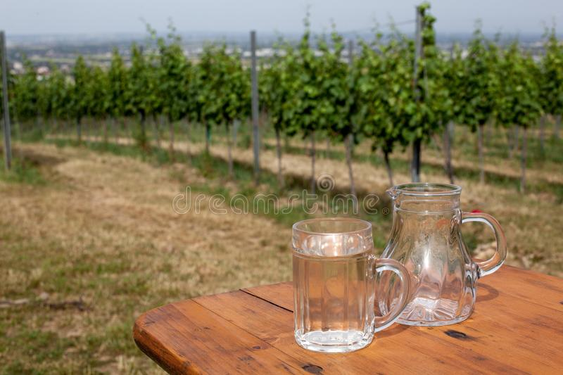 Soda spritzer drink refreshment. Glass cup of white wine, decanter on wooden table on backgrounds of Vineyards in. Soda spritzer drink refreshment. Glass cup of stock image