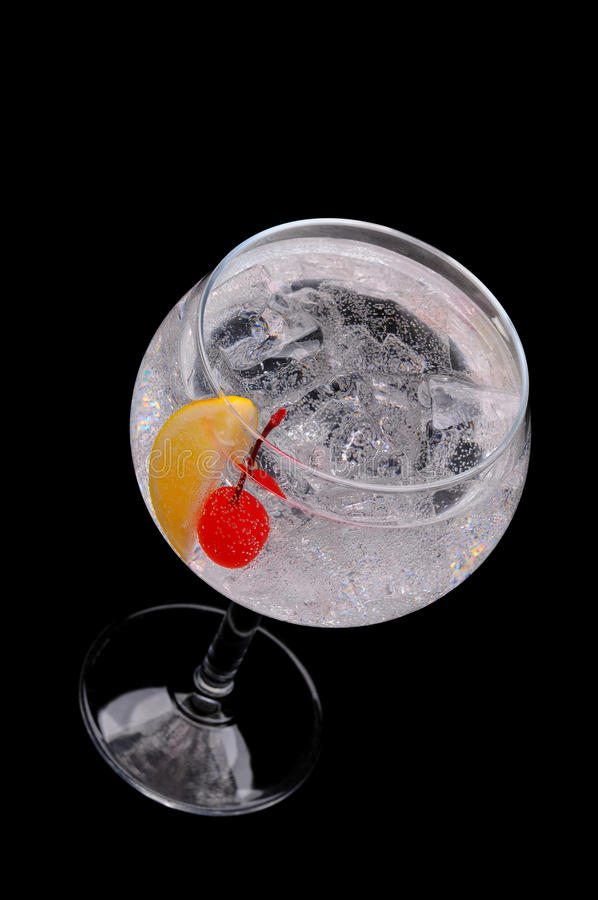 Download Soda Water With Cherry And Lemon Wedge Stock Image - Image: 18724459