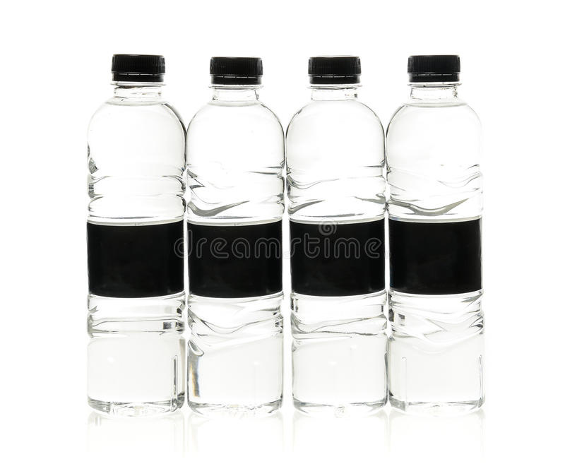Soda water plastic bottles with blank label. Isolated on white stock photos