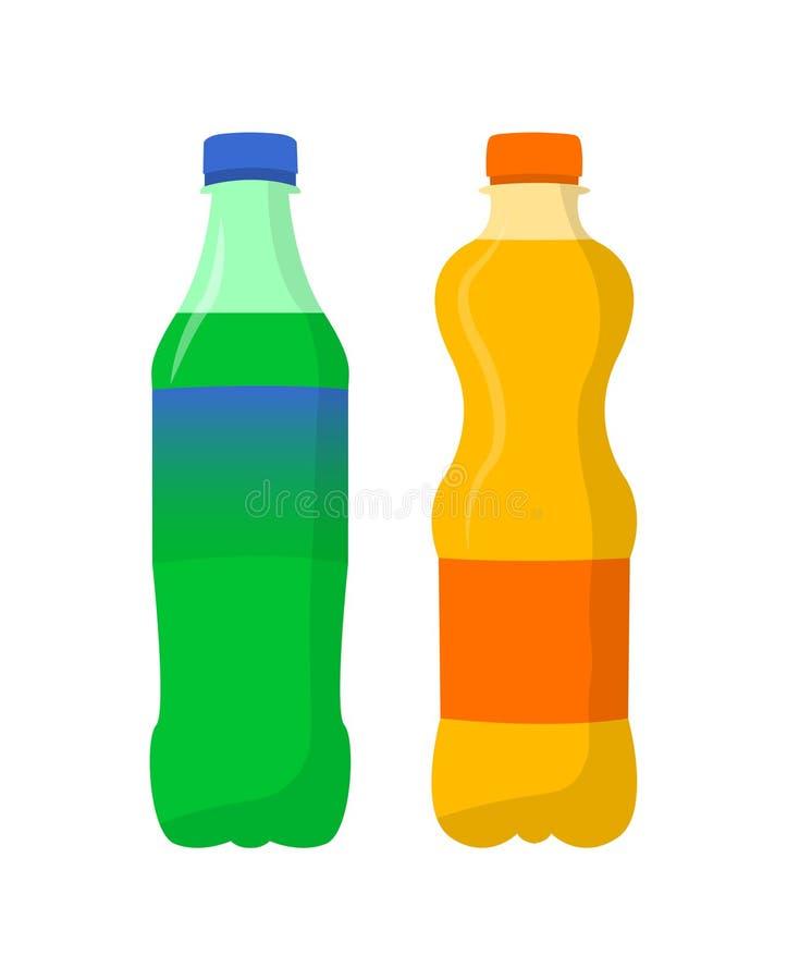 soda Zitrone und flacher Entwurf des orange Sodas lizenzfreie abbildung