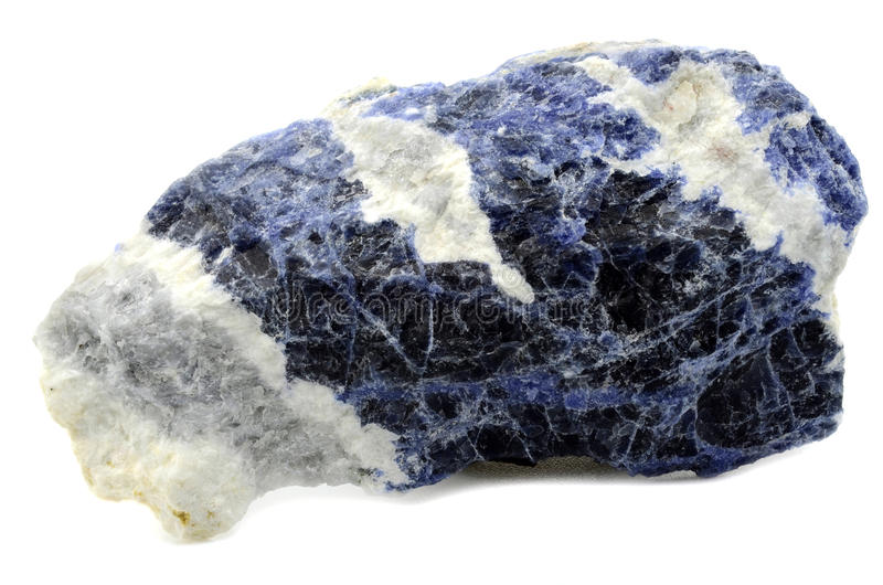 Sodalite. Sample of Sodalite a beautiful nature specimen isolated on white background royalty free stock images