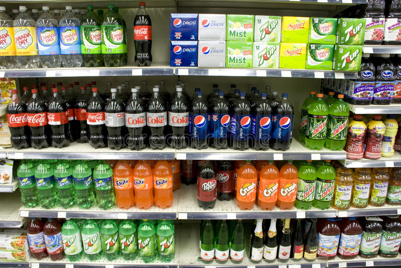 Sodas on store shelves