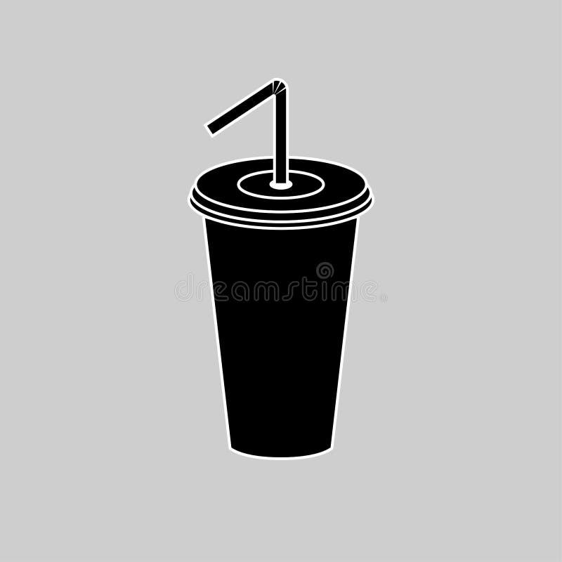 Sodaschale mit dem Stroh lokalisiert auf weißem Hintergrund Limonadengetränk Pommes-Frites, Burger- und Ketschupherz Vektorkarika vektor abbildung