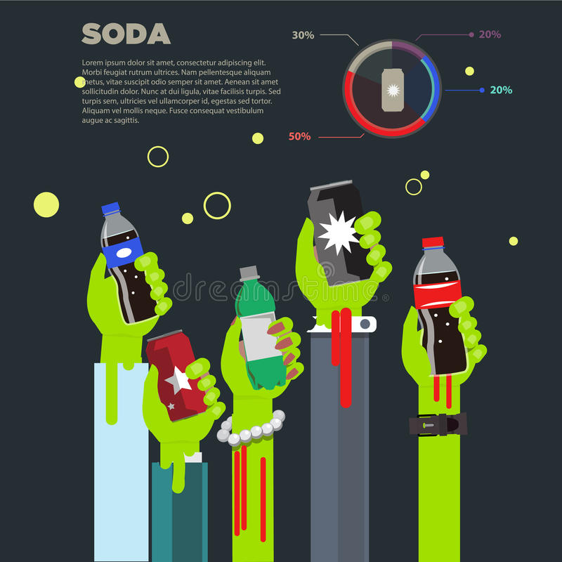Sodavatten i levande dödhänder unhealthbegrepp - royaltyfri illustrationer
