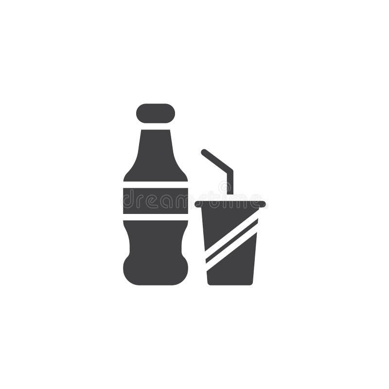 Sodavattenflaska och pappers- kopp med sugrörvektorsymbolen royaltyfri illustrationer