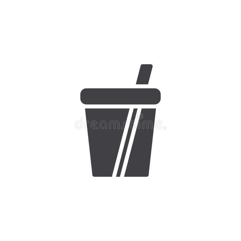 Sodavattenkopp med sugrörvektorsymbolen stock illustrationer