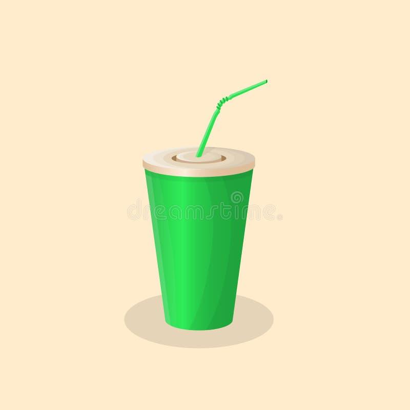 Sodavattenkopp Sodavatten i en pappers- kopp - den gulliga tecknade filmen färgade bilden Vektorillustration av snabbmat stock illustrationer