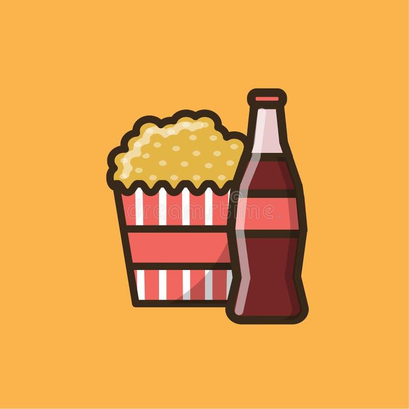 Sodavattenläsk och ask med popcorn stock illustrationer