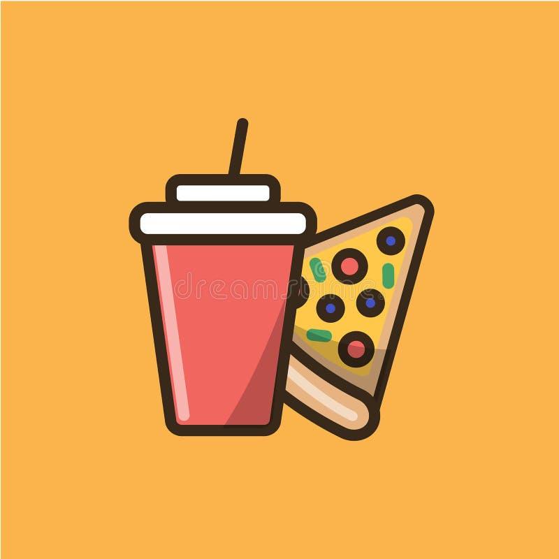 Sodavattenläsk och skiva av pizza royaltyfri illustrationer