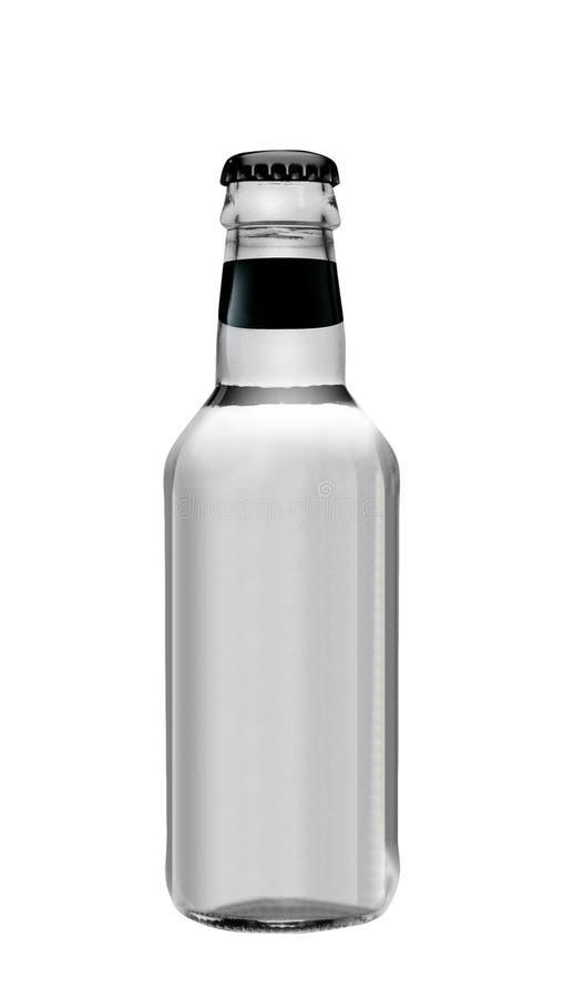 Sodawasser in der Glasflasche lokalisiert auf Weiß lizenzfreie stockfotografie