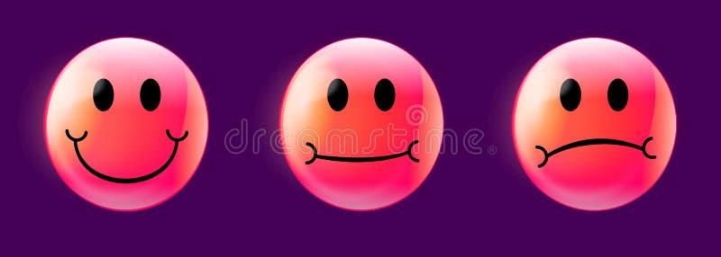 Soddisfazione del cliente Caldo-rosa Emojis su Violet Background illustrazione vettoriale