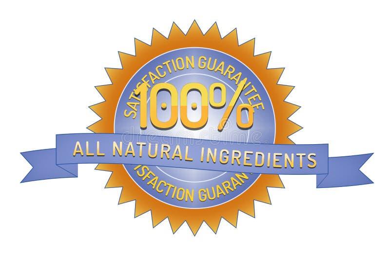 Soddisfazione 100% tutti gli ingredienti naturali illustrazione vettoriale