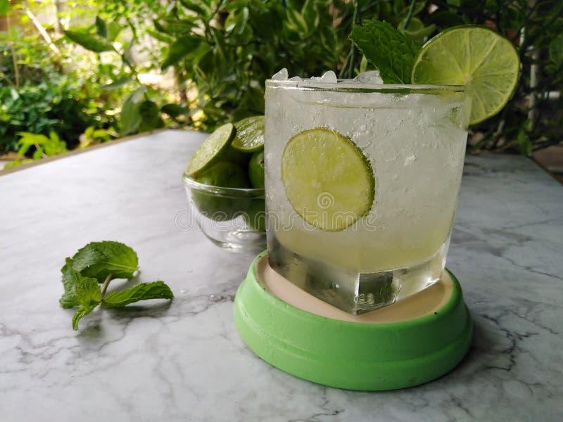 Sodowanego wapna sok z nowymi liśćmi i wapnem zdjęcie royalty free