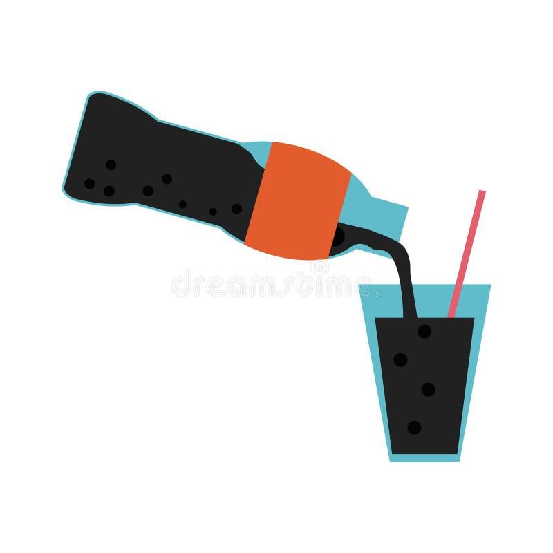 Sodowanej butelki słuzyć filiżanka ilustracja wektor