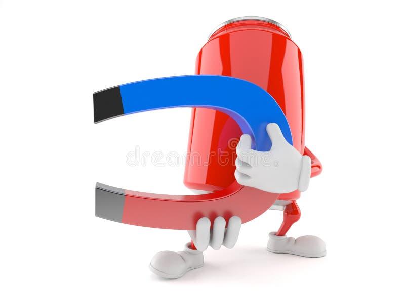 Sodowanej puszki charakter trzyma podkowa magnes ilustracji