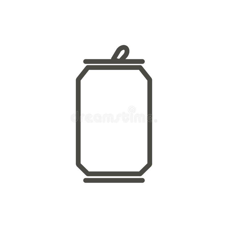 Sodowanej puszki ikony wektor Kreskowy napój butelki symbol royalty ilustracja