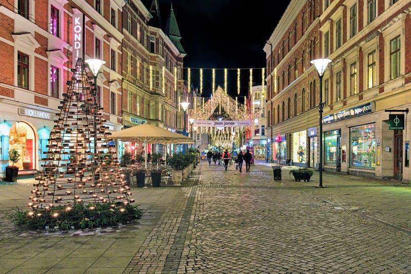 Sodra Forstadsgatan street in Malmo with Christmas illumination. In the evening, Sweden stock photos